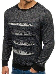Bluza męska bez kaptura z nadrukiem czarna Denley 1693