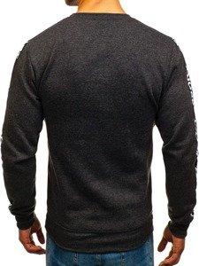 Bluza męska bez kaptura z nadrukiem czarna Denley 8689