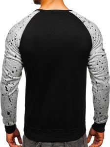 Bluza męska bez kaptura z nadrukiem czarna Denley DD07