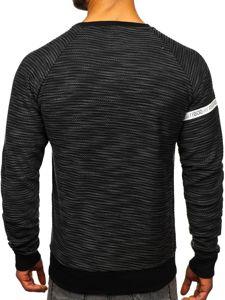 Bluza męska bez kaptura z nadrukiem czarna Denley DD713