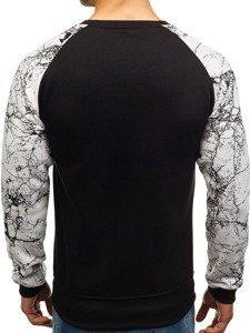 Bluza męska bez kaptura z nadrukiem czarna Denley J39