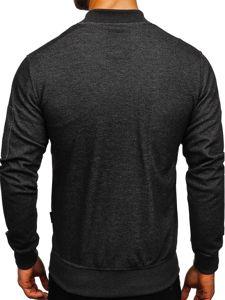 Bluza męska bez kaptura z nadrukiem grafitowa Denley 3805