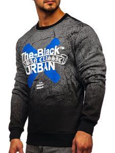 Bluza męska bez kaptura z nadrukiem grafitowa Denley DD259