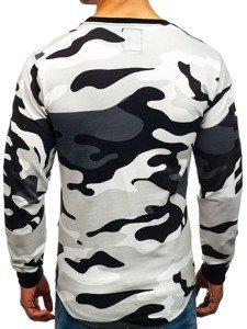 Bluza męska bez kaptura z nadrukiem moro-szara Denley 0755