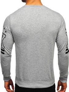 Bluza męska bez kaptura z nadrukiem szara Denley 0384