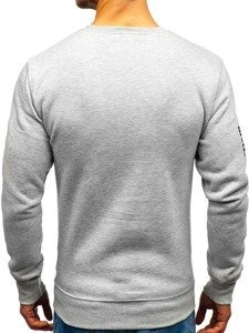 Bluza męska bez kaptura z nadrukiem szara Denley DD376