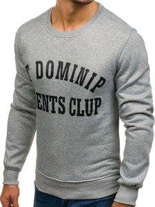 Bluza męska bez kaptura z nadrukiem szara Denley J50