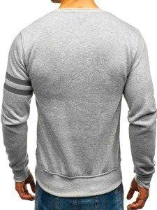 Bluza męska bez kaptura z nadrukiem szaro-antracytowa Denley J45