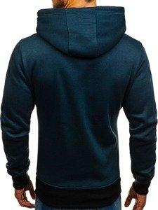 Bluza męska z kapturem granatowo-czarna Denley 2078