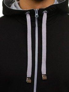 Bluza męska z kapturem rozpinana czarna Denley 0363