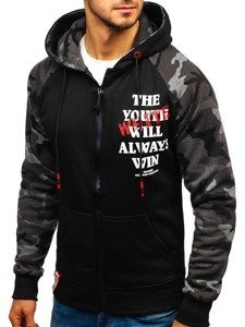 Bluza męska z kapturem rozpinana czarno-grafitowa Denley DD551