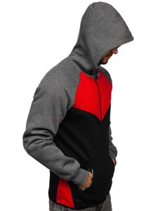 Bluza męska z kapturem rozpinana czerwona Denley 80688