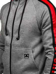 Bluza męska z kapturem rozpinana ze słuchawkami szara Denley 81052