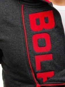 Bluza męska z kapturem z nadrukiem antracytowa Bolf 01S