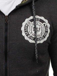 Bluza męska z kapturem z nadrukiem antracytowa Bolf 72