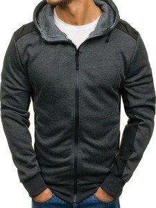 Bluza męska z kapturem z nadrukiem antracytowa Denley 2851