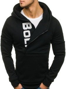 Bluza męska z kapturem z nadrukiem czarna Bolf 01S