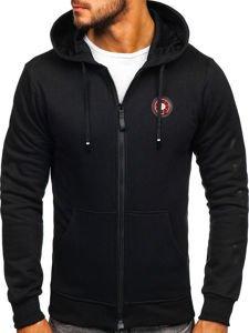 Bluza męska z kapturem z nadrukiem czarna Denley 33101