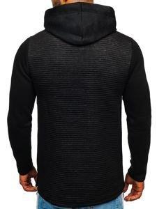 Bluza męska z kapturem z nadrukiem czarna Denley 9105