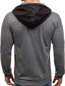 Bluza męska z kapturem z nadrukiem czarno-grafitowa Denley 1115