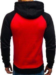 Bluza męska z kapturem z nadrukiem czerwona Denley DD290