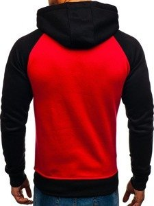Bluza męska z kapturem z nadrukiem czerwona Denley DD291