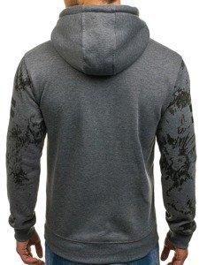 Bluza męska z kapturem z nadrukiem grafitowa Denley DD163