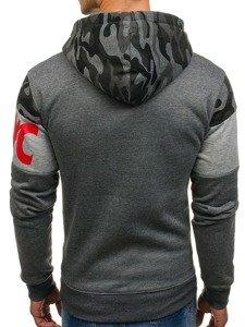Bluza męska z kapturem z nadrukiem grafitowa Denley DD56