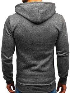 Bluza męska z kapturem z nadrukiem grafitowa Denley KS1802