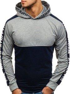 Bluza męska z kapturem z nadrukiem granatowo-szara Denley HY202