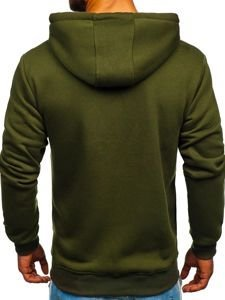 Bluza męska z kapturem z nadrukiem khaki Denley 11025