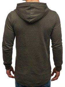 Bluza męska z kapturem z nadrukiem khaki Denley 9093