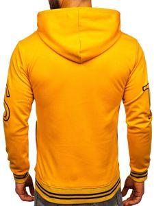 Bluza męska z kapturem z nadrukiem żółta Denley 8917