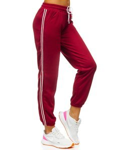 Bordowe spodnie dresowe damskie Denley YW01020A