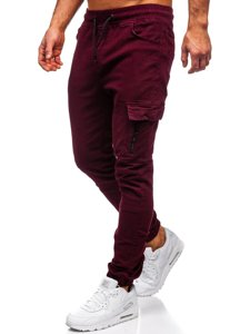 Bordowe spodnie joggery bojówki męskie Bolf 11104