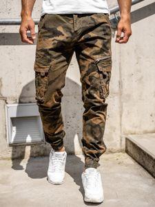 Brązowe spodnie joggery bojówki moro męskie z paskiem Denley CT6015
