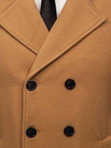 Camelowy płaszcz dwurzędowy męski zimowy z wysokim kołnierzem Denley 8078
