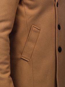 Camelowy płaszcz dwurzędowy męski zimowy z wysokim kołnierzem Denley 8801