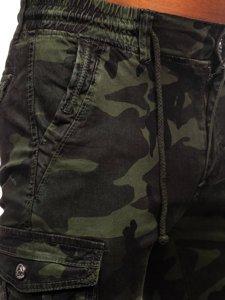 Ciemnozielone spodnie joggery bojówki męskie moro Denley CT6019