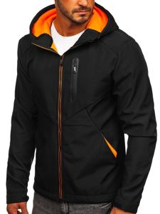 Czarna kurtka męska przejściowa softshell Denley KS2192