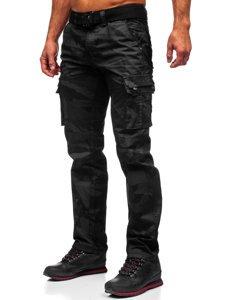 Czarne spodnie bojówki męskie z paskiem Denley 2096
