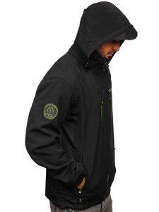 Czarno-zielona kurtka męska softshell  Denley 2346B