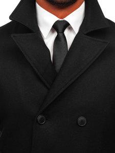 Czarny płaszcz dwurzędowy męski zimowy z wysokim kołnierzem Denley 8801