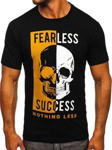 Czarny t-shirt męski z nadrukiem Bolf 142173