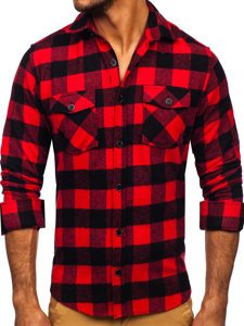 Czerwona koszula męska flanelowa z długim rękawem Denley 20723