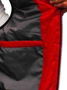 Czerwona pikowana kamizelka męska z kapturem Denley 6701
