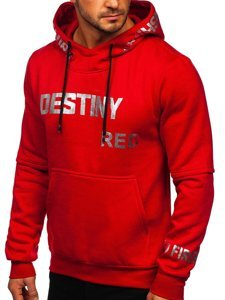 Czerwona z nadrukiem bluza męska z kapturem Denley 80660