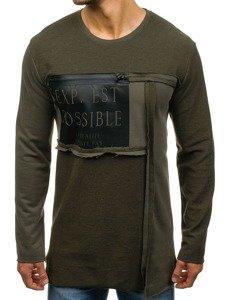 Długa bluza męska bez kaptura z nadrukiem zielona Denley NRT542