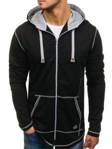 Długa bluza męska z kapturem rozpinana czarna Denley 0364