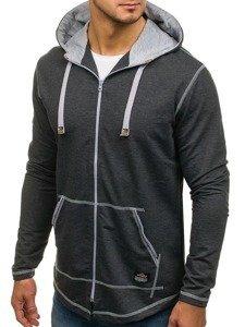 Długa bluza męska z kapturem rozpinana grafitowa Denley 0364